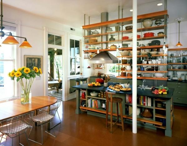 moderne Küche mit Kochinsel industriell stil einrichten