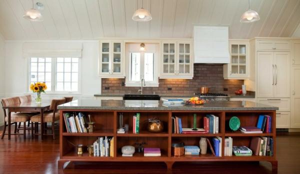 moderne Küche mit Kochinsel traditionell küchenrückwand kochbücher