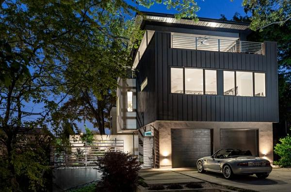 moderne architektur häuser garagen vorgarten gestalten