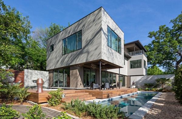 moderne architektur häuser garten mit pool haus gebäude holzveranda