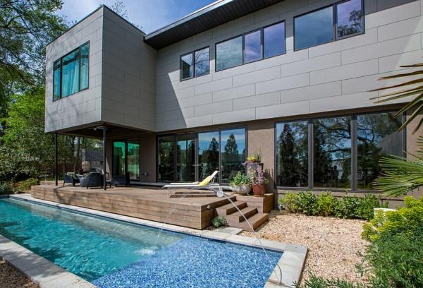 moderne architektur häuser garten mit pool