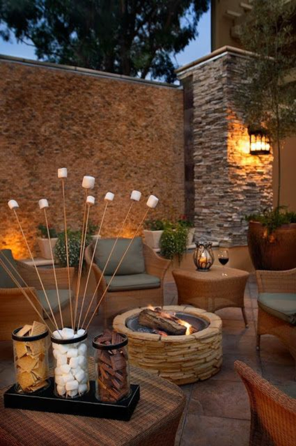 moderne außenarchitektur dekoration kamin rattan möbel