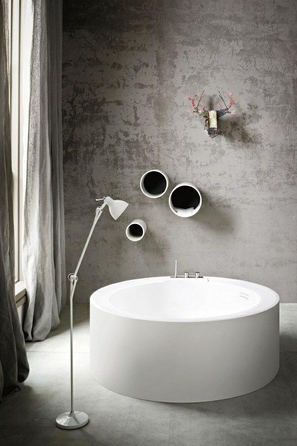 moderne badewanne badezimmer ideen rund weiß schlicht