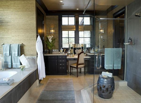 badezimmer design ideen duschkabine chinesische keramik gartenstühle