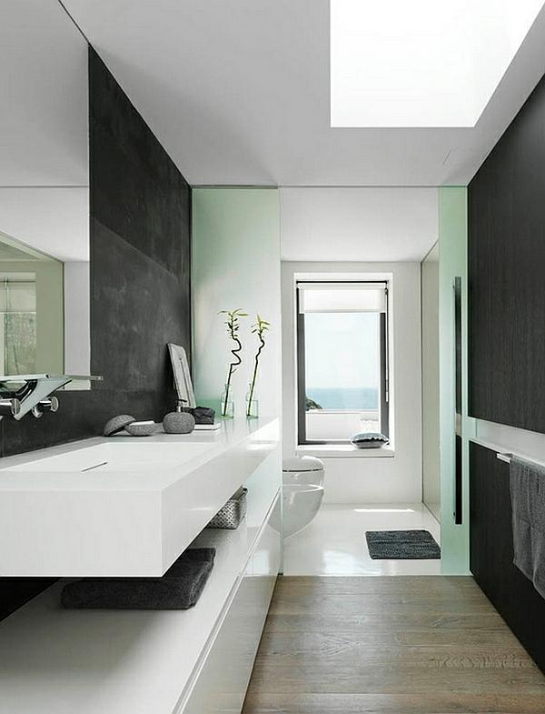 moderne badezimmer farbgestaltung schwarz weiß wandgestaltung