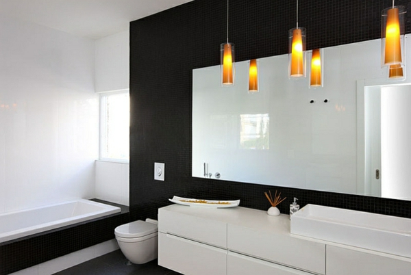 moderne badezimmer ideen pendelleuchten