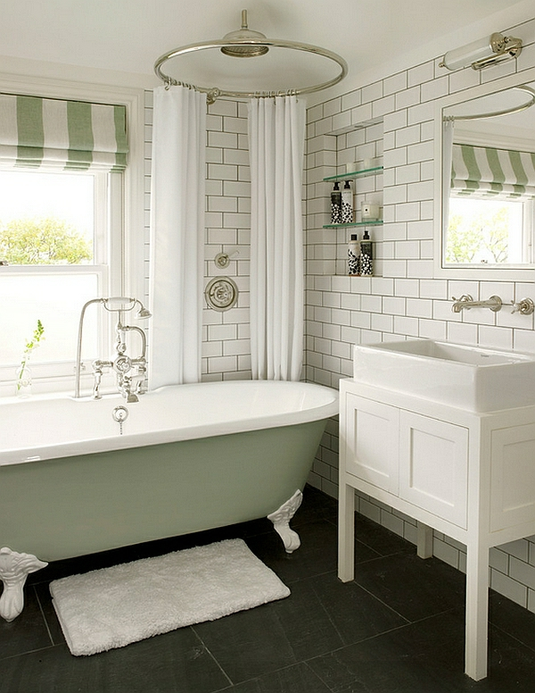 moderne badezimmer ideen freistehende badewanne pastellfarben