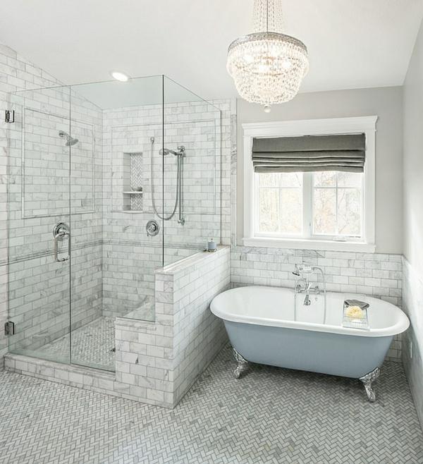 moderne badezimmer ideen fischgräten muster badewanne