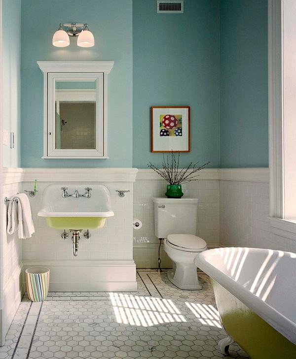 moderne badezimmer grüne akzente freistehende badewanne