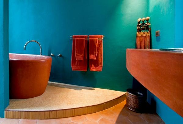 moderne badezimmer ideen türkise wandgestaltung badewannen