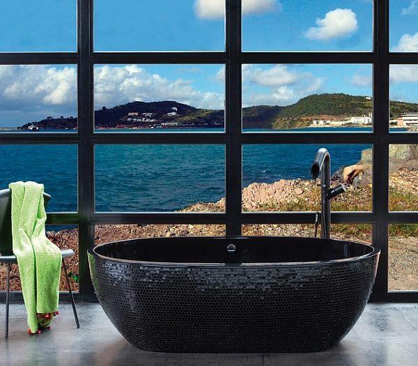 Freistehende Badewanne Im Modernen Badezimmer Designer Badewannen Moderne Bad