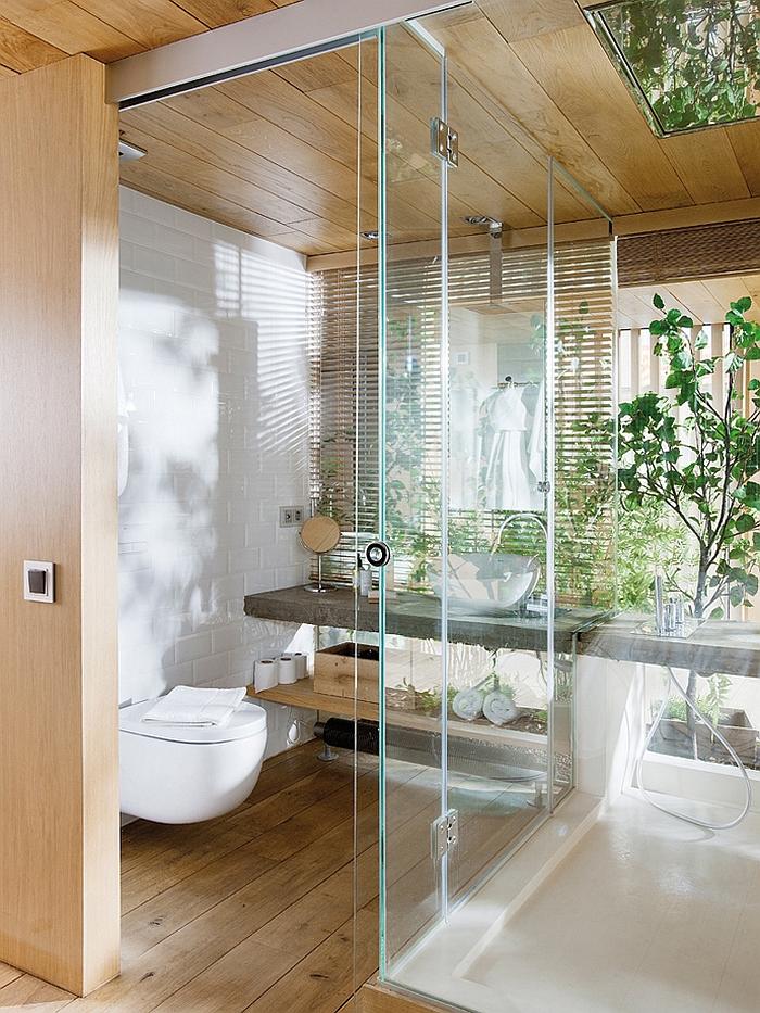 moderne badezimmer innenarchitektur holzboden verlegen bodengleiche dusche