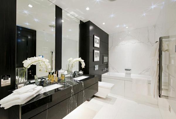 moderne badezimmer schränke schwarz weiß eingebaute deckenleuchten