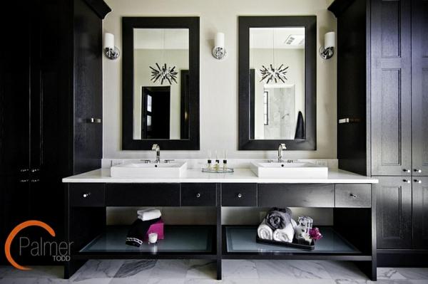 Badezimmer Ideen In Schwarz Weiß   45 Inspirierende Beispiele   Schränke  Für Badezimmer
