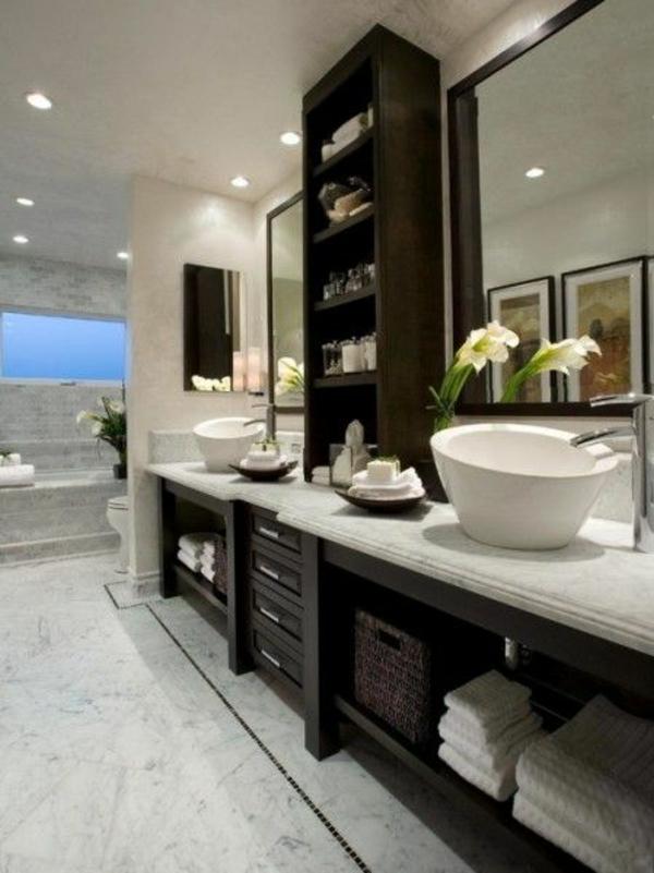 moderne badezimmergestaltung ideen dunkelholz oberflächen