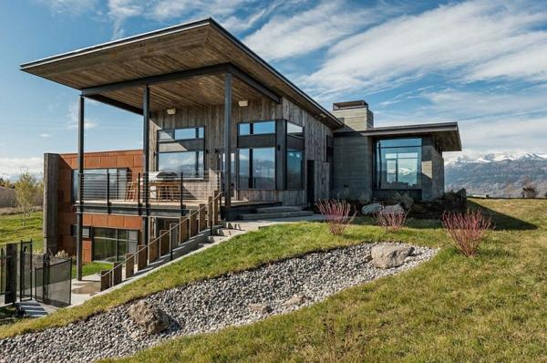 moderne berghütte design ideen große fenster dach