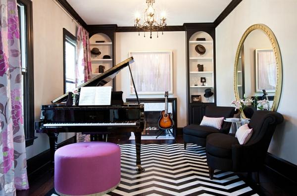 moderne einrichtungsideen wohnzimmer zigzag muster boden