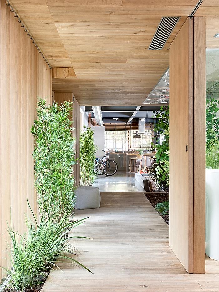 moderne innenarchitektur innenhof außenbereich gestalten pflanzen