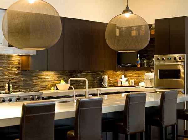 moderne küche transparent rießig Pendelleuchten im Esszimmer