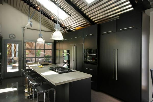 moderne küche gestalten wellblech decke kücheninsel