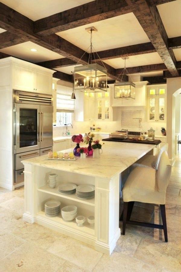 moderne küchengestaltung weiß holzbalken landhausküche