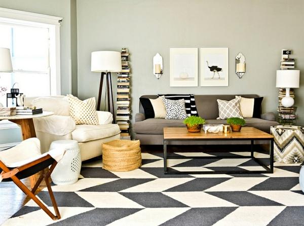 moderne klassische einrichtungsideen wohnzimmer zigzag muster