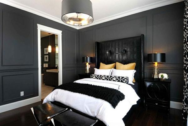 moderne schlafzimmer farben schwarz-weiß gold akzente dekokissen