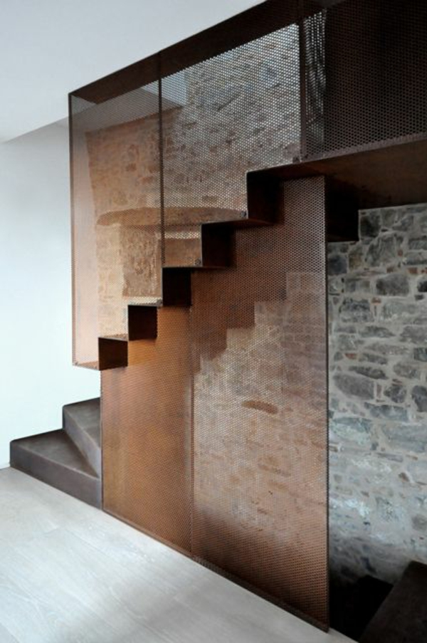 moderne treppe unterschiedliche materialien