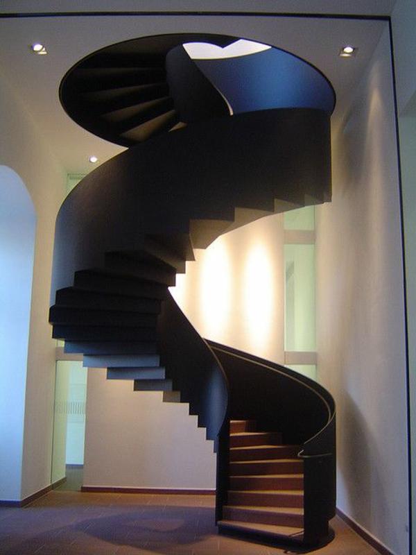 moderne treppe schwarz spiral form stufen