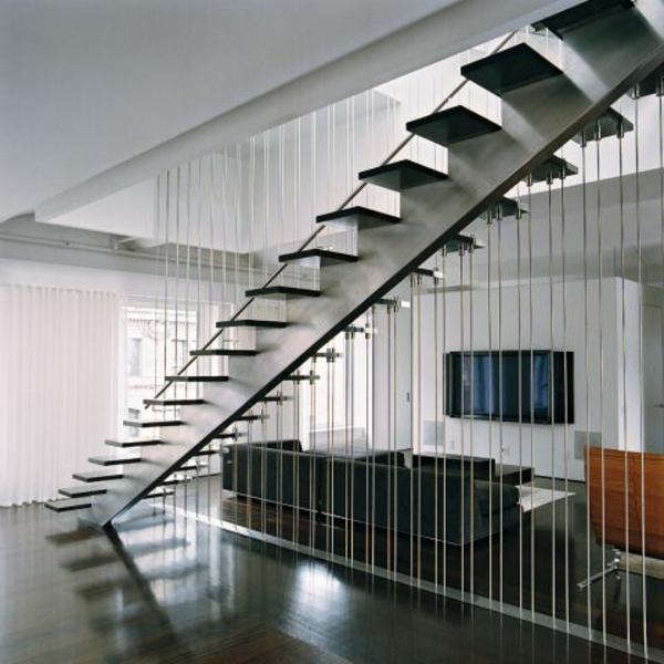 moderne treppe schwarz weiß metallkonstruktion sichtschutz