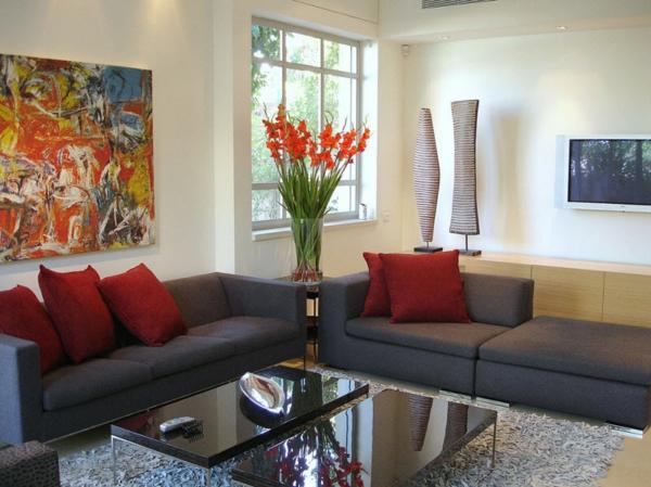 einrichtungsideen design sofas rot kissen