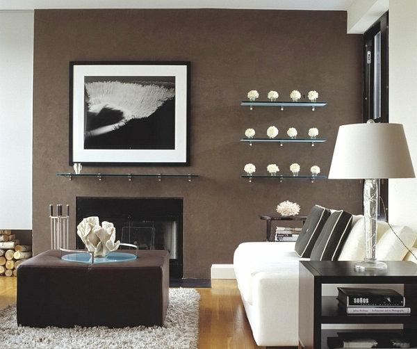 moderne wohnideen wohnzimmer glasregal