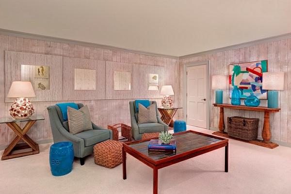 Moderne Wohnzimmer Design Ideen Chinesische Garten Hocker Blaue Akzente  Orientalische ...
