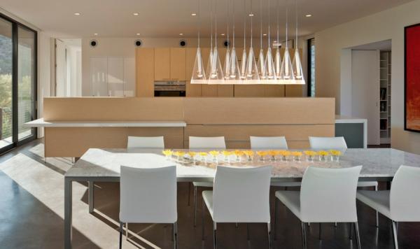 modernes esszimmer esstisch stühle küche mit kochinsel