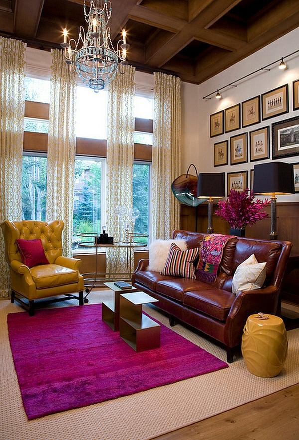 wohnzimmer design einrichtung rosa heißes gelb sitzecke garten hocker