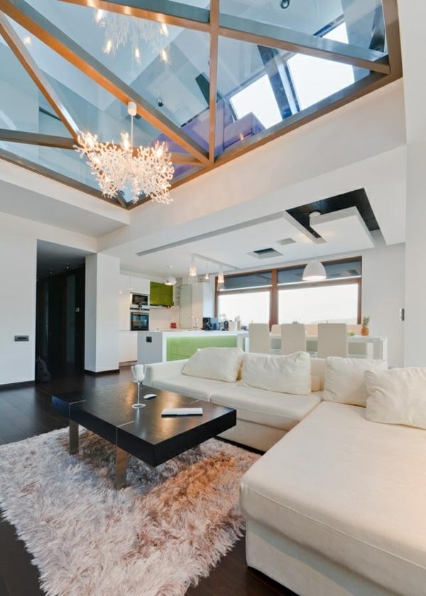 Modernes Wohnzimmer Einrichten Am Dach Glasdecke Sofa