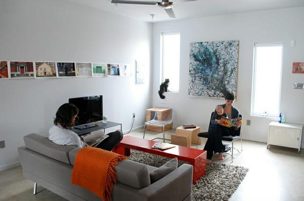 orange bezug sofa teppich fell gemälde