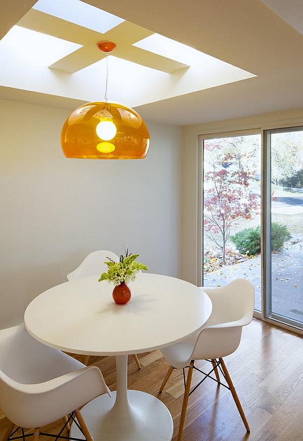 orange bunt transparent lampenschirm hängelampe esszimmer