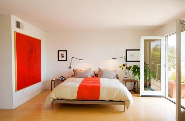 orange farbgestaltung schlafzimmer minimalistisch