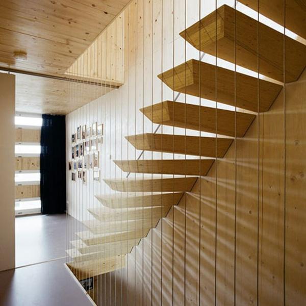 originelle design ideen treppenhaus helles holz geländer
