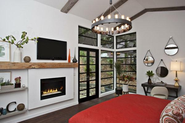 originelle interior design gestaltung schlafzimmer kamin
