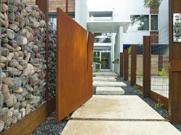 Wand Steine Gitter : Moderne Gartenzäune schaffen Sichtschutz im Außenbereich