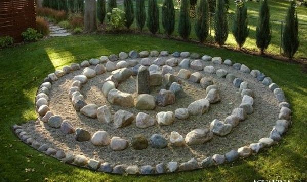 patio dekoideen sand steine