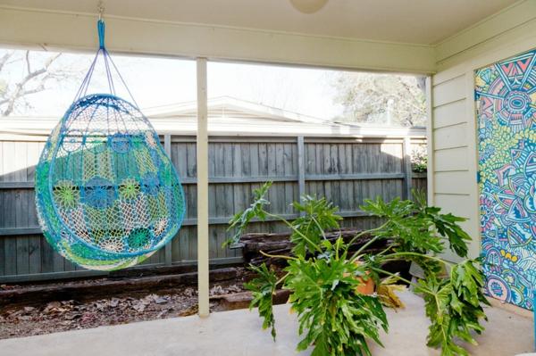 patio eklektisch gartengestaltung ideen hängeschaukel