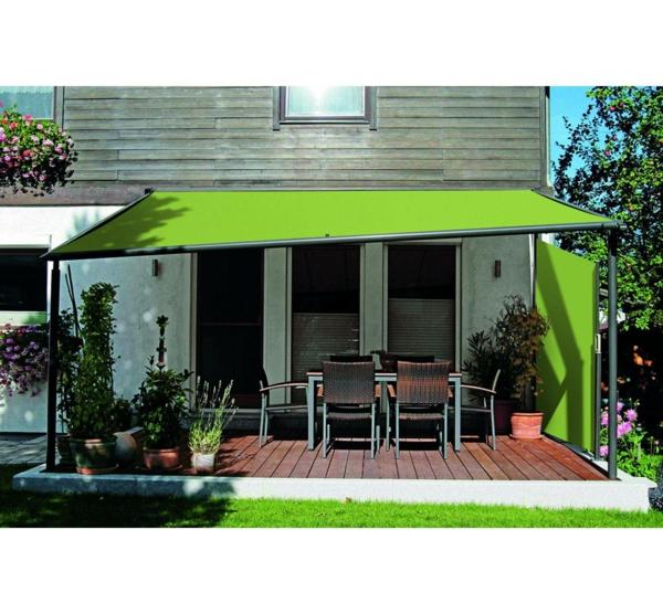 pergola beschattung grün stoff überdachung