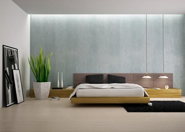pfanzkübel exotisch frisch schlafzimmer hängelampen bett