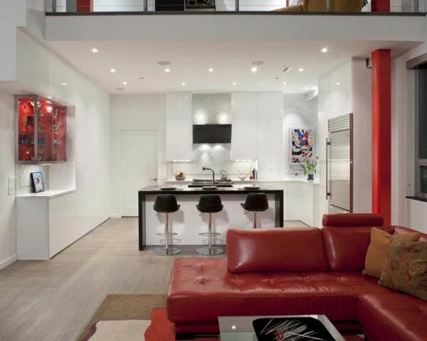 polstersofa leder rot kücheneinrichtung wohnzimmer