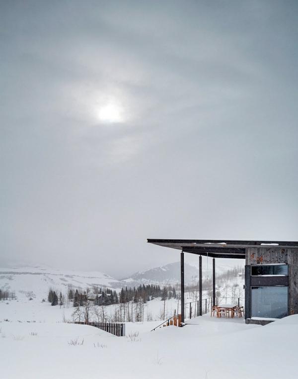 prächtige aussischt berghütte winter