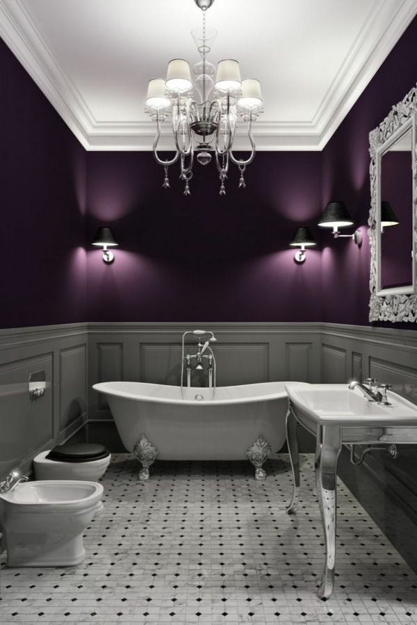 prachtvolle badezimmer farbgestaltung in lila grau