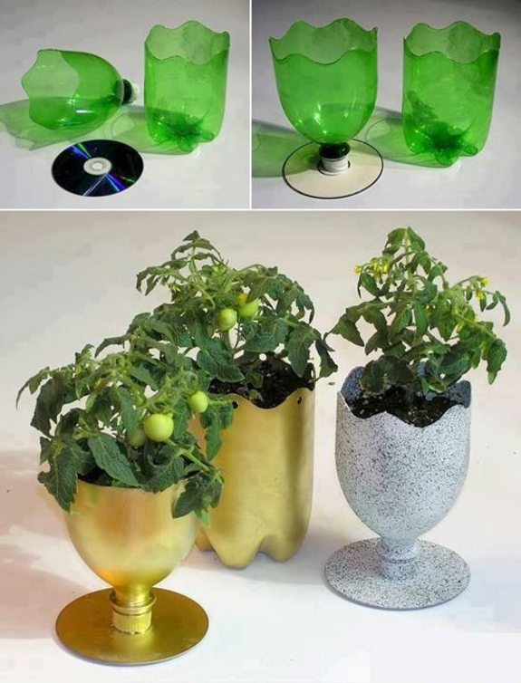 praktische bastelideen blumentopf aus plastikflaschen basteln